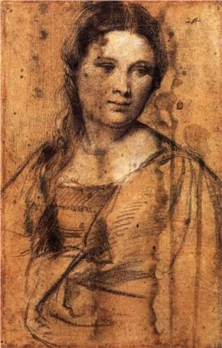 Portrait of a Young Woman - Titian.  c.1515.  Drawing.  42 x 26 cm.  Galleria degli Uffizi, Florence, Italy.