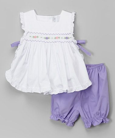 Love this White & Purple Pinafore Smocked Top & Bloomers - Infant & Toddler by Fantaisie Kids on #zulily! #zulilyfinds