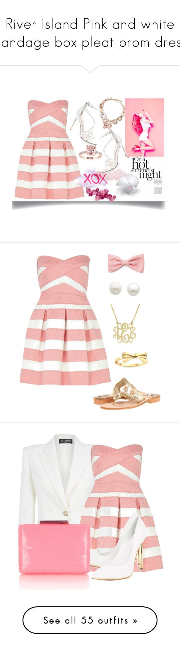 """""""River Island Pink and white bandage box pleat prom dress"""" by alignmentmag ❤ liked on Polyvore featuring dressy, dress, River Island, Oscar de la Renta, Steve Madden, GALA, Reeds Jewelers, Jack Rogers, Forever 21 and Kate Spade"""