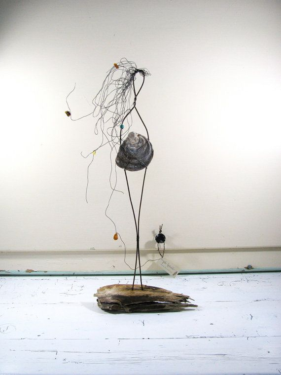 Wire Sculpture Goddess of the Sea Driftwood Art Mixed by idestudiet™ ART+EARTH. All Rights Reserved.