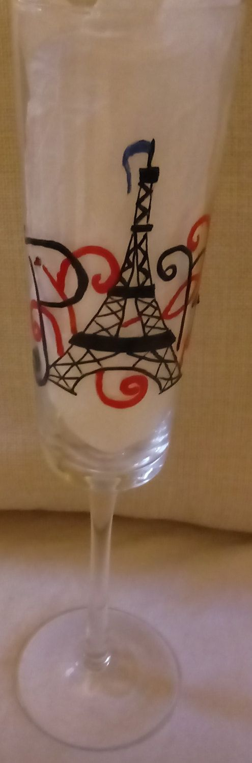 Hand Painted ~Contemporary Champagne Flute ~ 9 oz ~ Paris ~ France ~ Eiffel Tower ~Personalized by TheCatholicPirate on Etsy