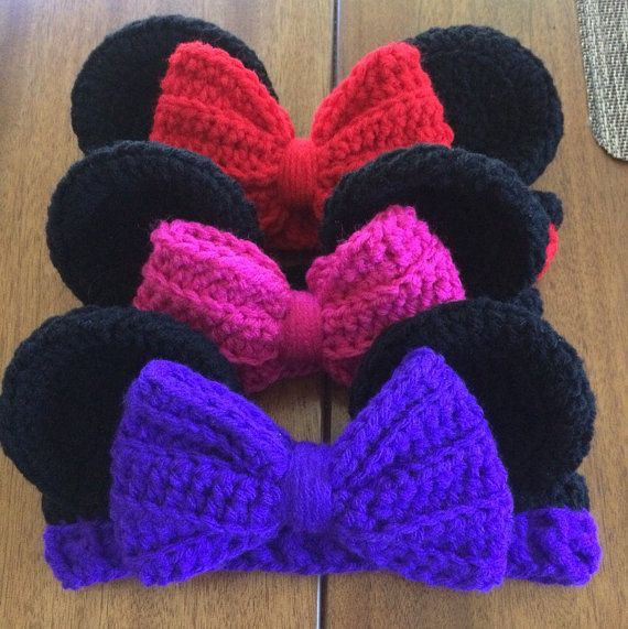 Minnie Mouse Inspired Crochet Headband by CrochetLifestyle on Etsy