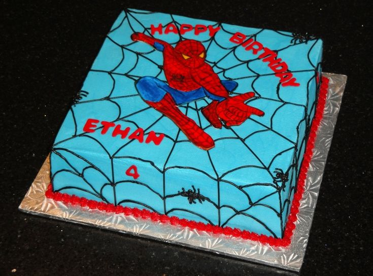 spider man cakes | French vanilla cake with vanilla buttercream filling and coloured ...