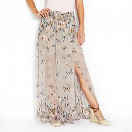 Nevada®/MD Maxi Skirt with Side Slit and Pleating - Sears