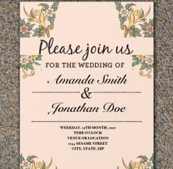 Pretty Flowers... Free Wedding Invitation Template Download.