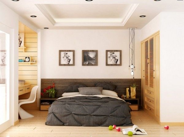 Bedroom:Remarkable Modern Bedrooms: Apartment Master Bedroom Masculine Bedroom Idea Storage Unit Wall Closet Wall Painting Study Room With Wooden Desk A White Unique Chair Bulb Lighting Fixture Flowers Vase