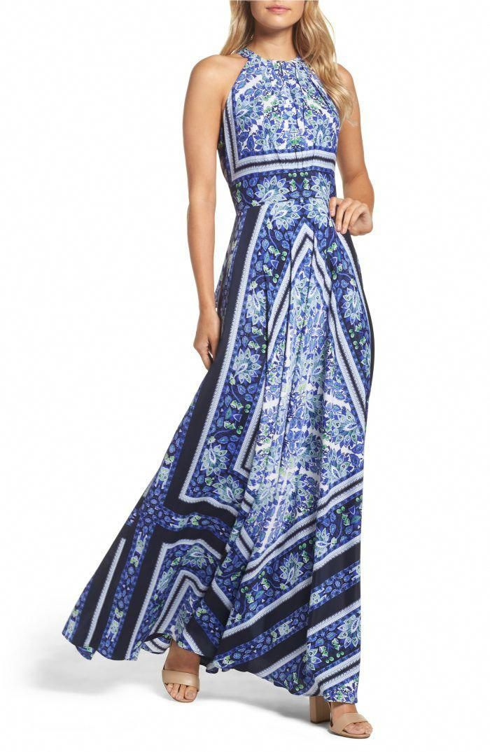 Blue Maxi Halter Dress For Wedding Guests Yourswomensdresses