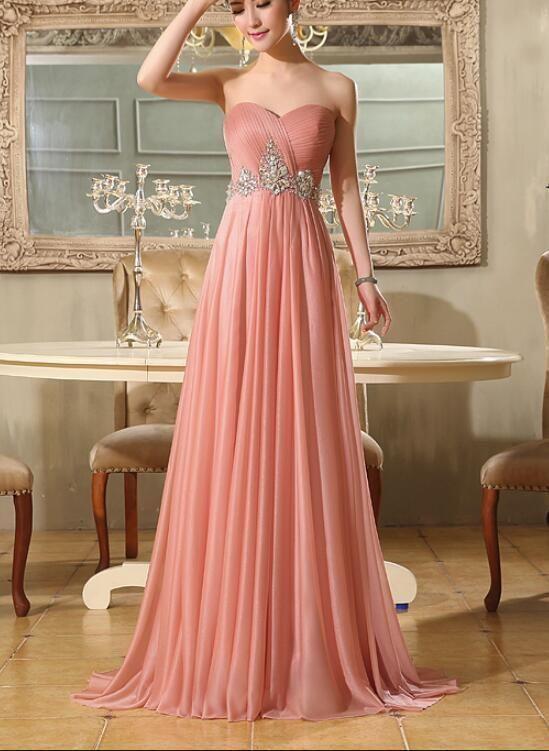 6d0fb9c9380 Lovely Pink Chiffon Beaded Floor Length Party Dress