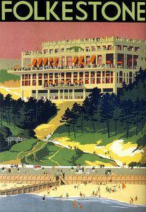 Vintage Folkestone Raiilway Travel England Poster