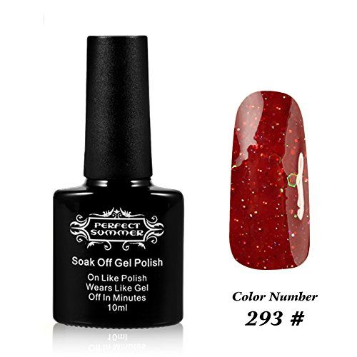 Perfect Summer Creative Nail Art Designs 10ml Soak Off UV Led Light Gel Nails Polish French Salon Manicure Nails Lacquers Varnish #293 glitter rubber red