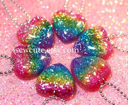 vivid colored rainbow glitter resin heart necklaces