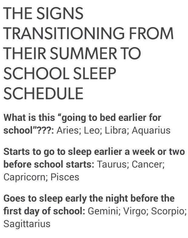 The signs transitioning from their summer to school sleep schedule | Zodiac