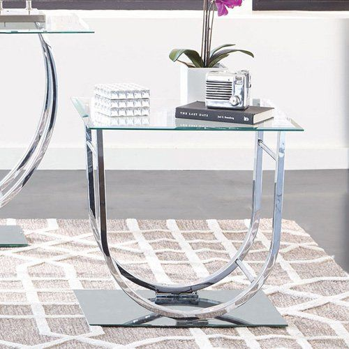 Coaster Furniture Glass Top End Table - Chrome - 704987