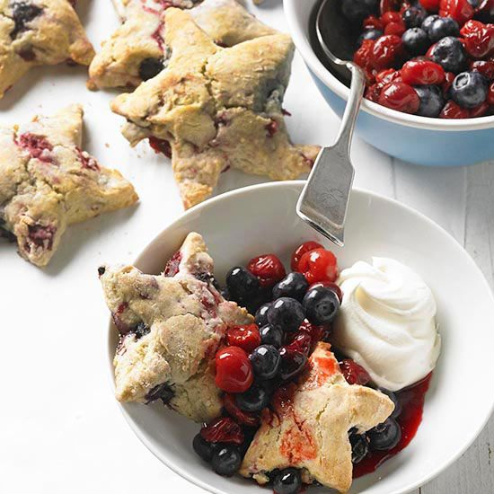 Cherry Berry Shortcake Stars!  Check out all the newest recipes from BHG: http://www.bhg.com/recipes/from-better-homes-and-gardens/july-2013-recipes/
