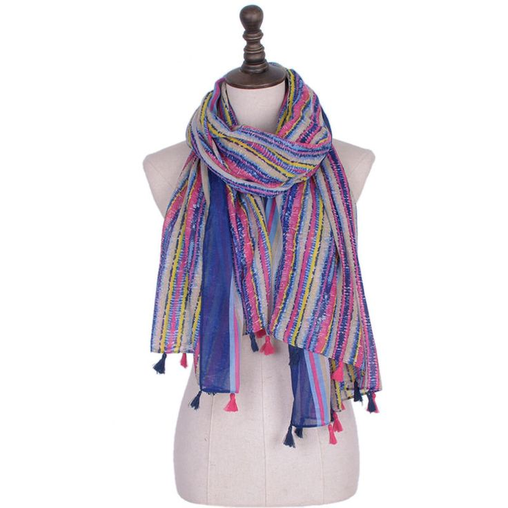 Trendy Stripped Scarves Woman Bohemian Beach Scarf Shawl Wrap Pashmina Muffler