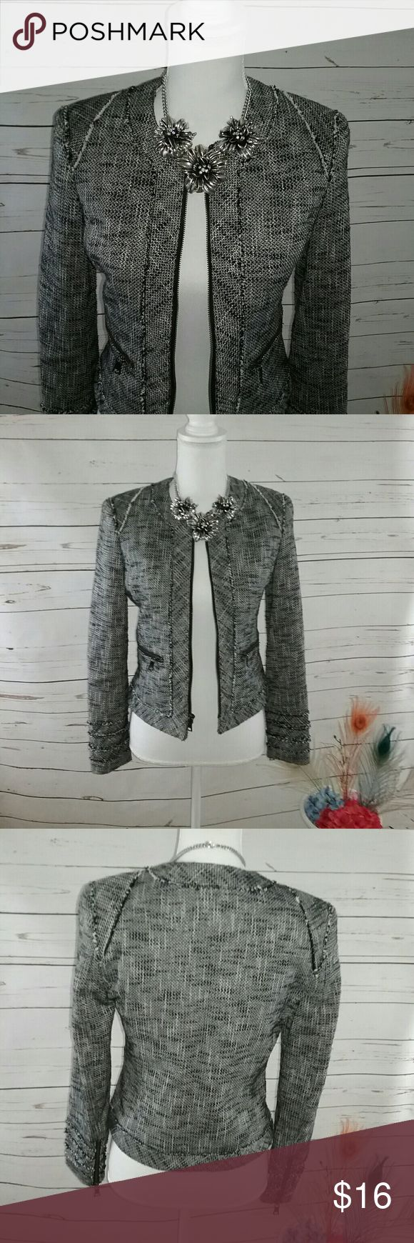 Banana Republic Black Tweed Jacket Blazer 2P This is a lovely Banana Republic black tweed jacket Blazer. It is a size 2 P. It is lined. And does have zipper detail at Pockets sleeves and down the front of the jacket. It is in great preowned condition sold without flaws or stains Banana Republic Jackets & Coats Blazers