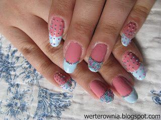 kolorowy french, różowo-niebieskie paznokcie, cukierkowe paznokcie #werterownia