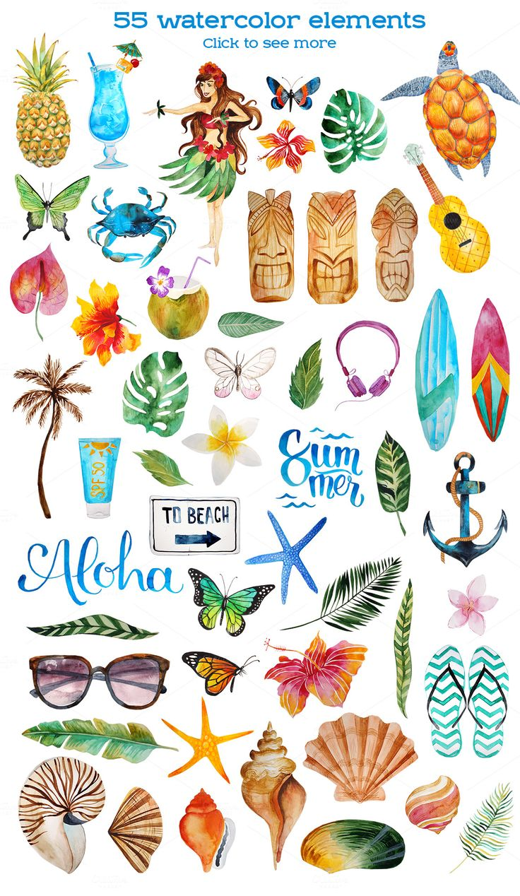 Aloha - watercolor bundle by beauty drops on @creativemarket