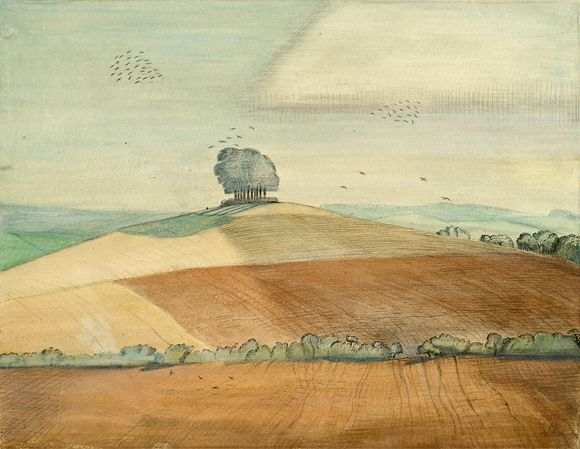 """""""Wittenham Clumps"""" by Paul Nash, 1912 (watercolour, ink and chalk on paper)"""