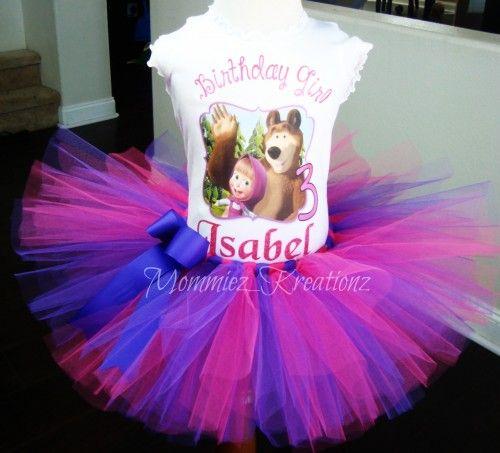 Masha & the Bear tutu set, Masha Birthday Outfit, Mash and the Bear