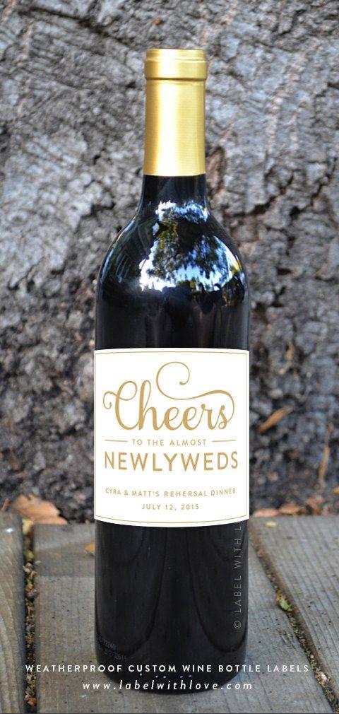 Custom Rehearsal Dinner Wine Bottle Labels (Set of 6) Weatherproof Removable Wedding Newlyweds Bride & Groom Gift Personalized