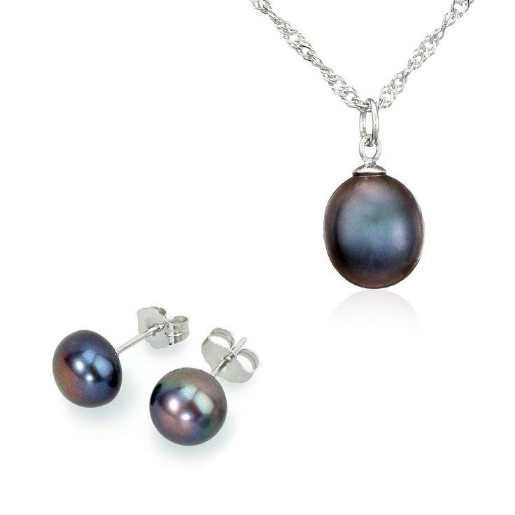 Set Sakura Pearl cercei, pandantiv și lanț argint cu perle de cultură negre indigo