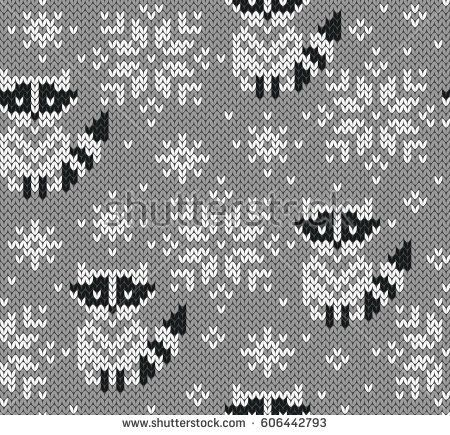 Raccoons jacquard knitted seamless pattern. Winter…