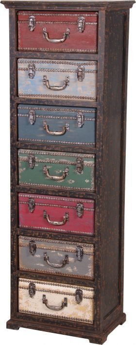 Tall Boy chest with drawers made to look like suitcases