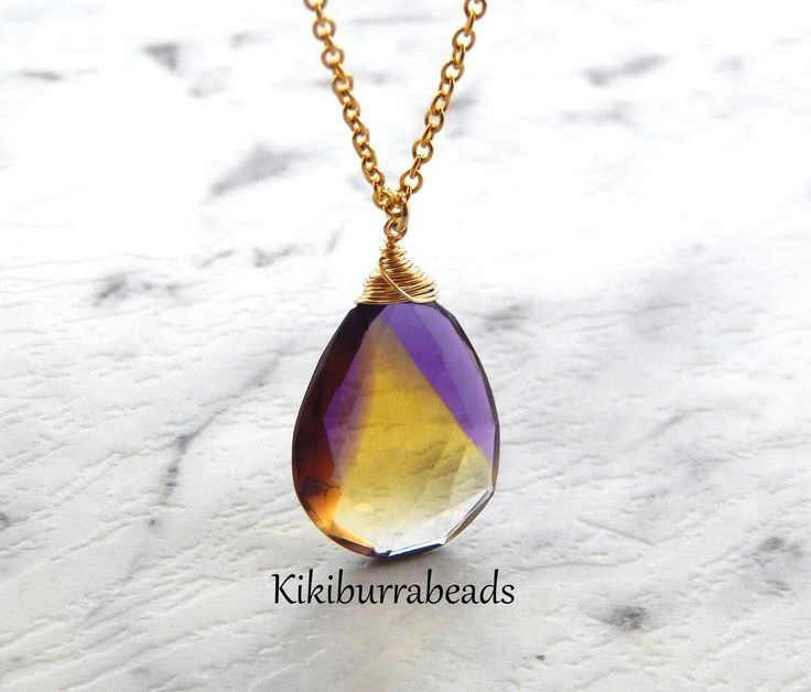 Amatrine Necklace,Gold Filled,Wire Wrapped Gemstone,Amatrine Jewelry,Gold Necklace,Layering Necklace,Solitaire Necklace by Kikiburrabeads on Etsy