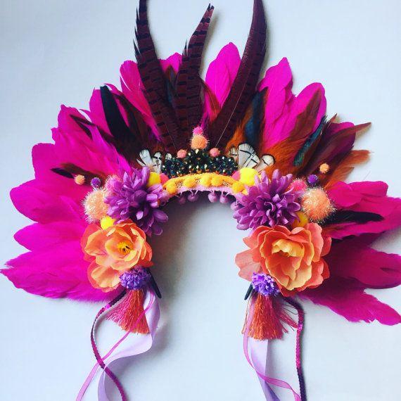 Statement feather rio headdress headpiece carnival pompom flower feather crown by ZEDHEAD