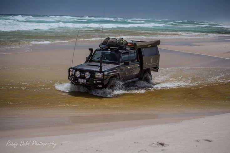 79 series Toyota Land Cruiser crossing the Warren River, Western Australia.