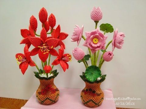 3D Origami Flower Collection - Bộ sưu tập mẫu hoa xếp Origmai 3D - YouTube