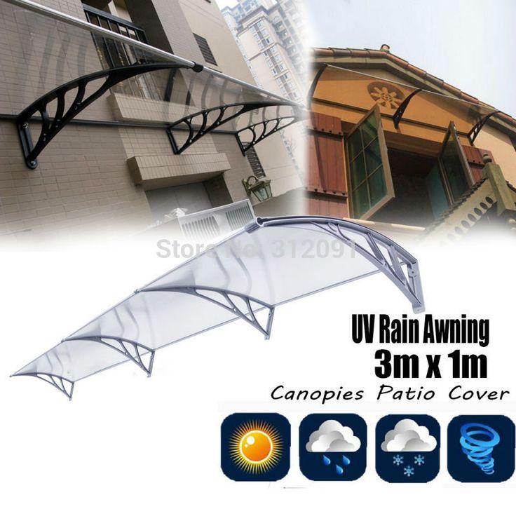 Ship from England! 1m x 3m DIY Overhead Door Balcony Window Outdoor Awning Canopy Patio Cover Kit UV Rain Sunshine