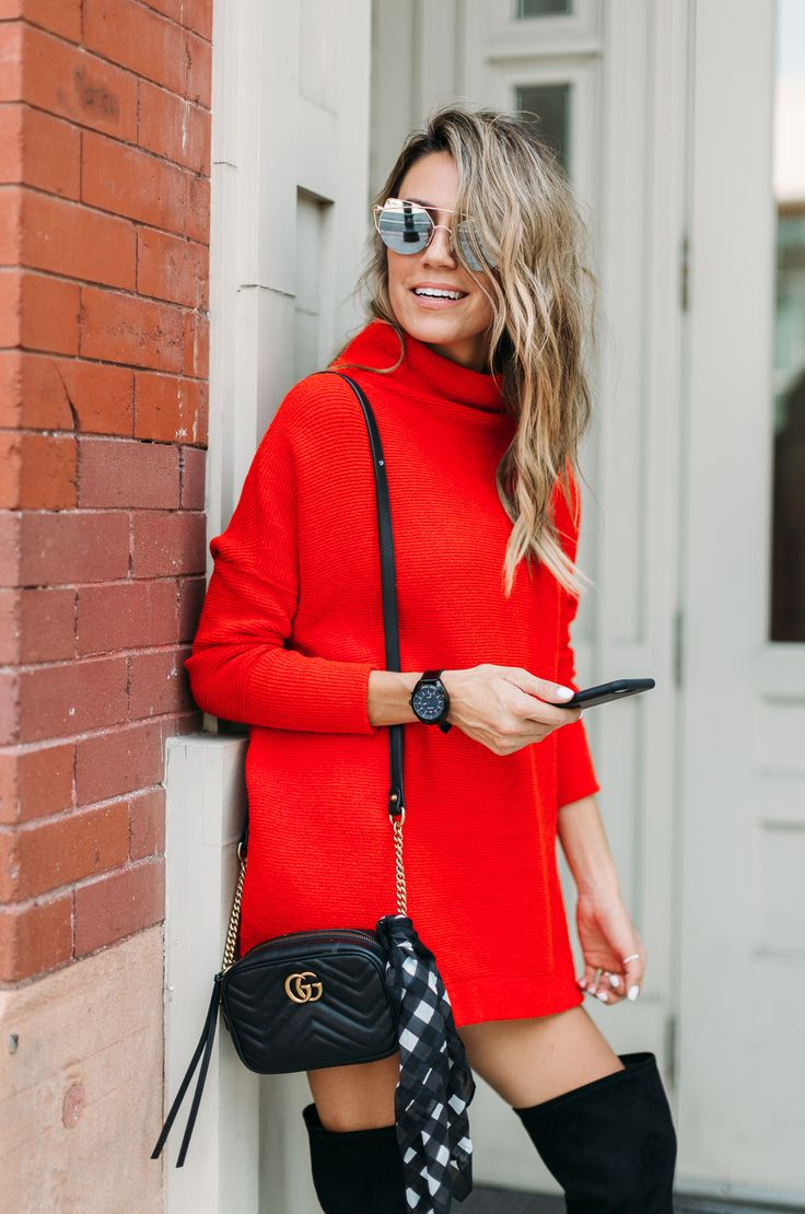 Red sweater dress.