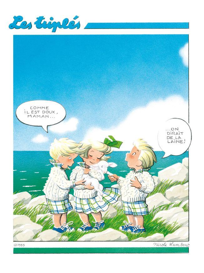 """La Boutique Les Triplés - Les affiches """" Comme il est doux maman ! on dirait de la laine ....."""""""