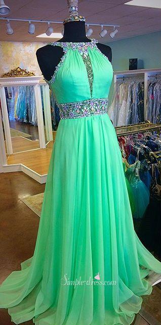 2016 prom dresses, long chiffon prom dresses, green chiffon prom dresses, beaded prom dresses