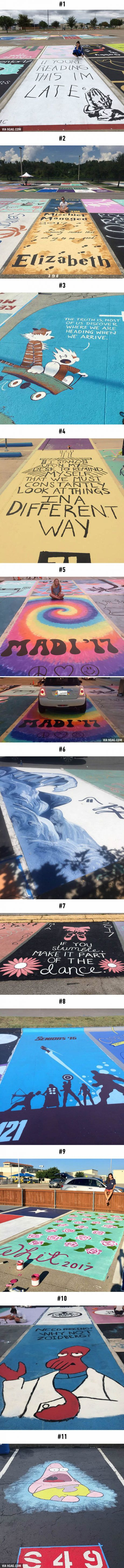 High School Seniors Paint Their Parking Spots