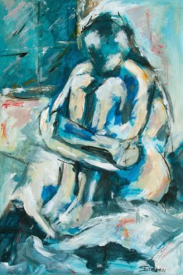 "Where ART Lives Gallery Artists Group Blog: Expressive Nude Painting, ""Waking Up"" by Arizona Artist, Sharon Sieben"