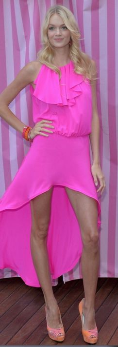 Lindsay Ellingson in a hot pink ruffled dream of a dress.