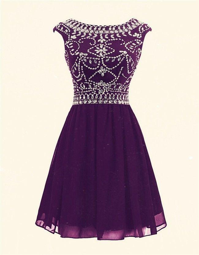 A Line Cap Sleeve Short Purple Chiffon Beaded Prom Dress