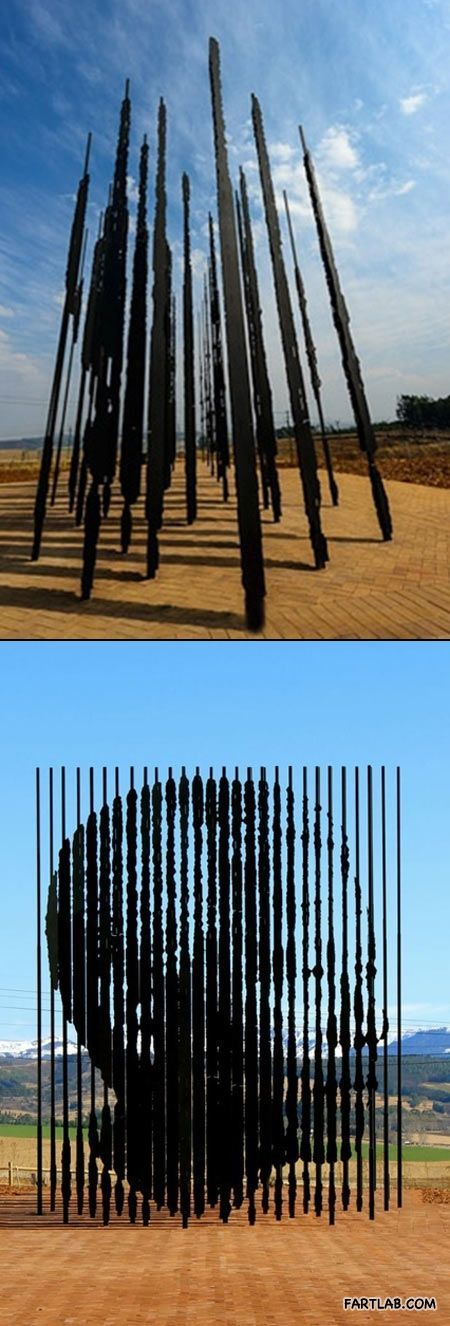 Sculpture where perspective matters… the Nelson Mandela sculpture, near Howick, KZN, South Africa: