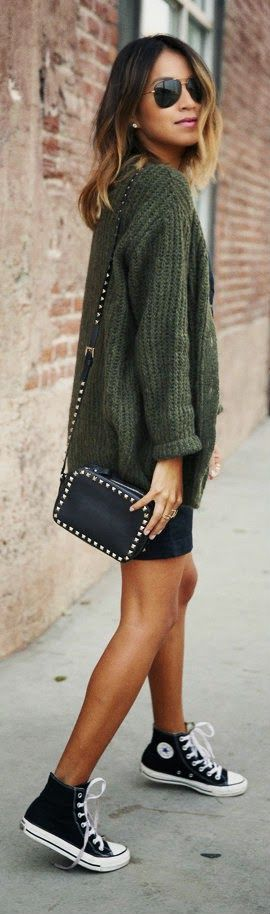 Golden Statements - Autumn Green Wool Sweater with Black Shorts and Stunning Handbag and Gold Accessories / Sincerely Jules