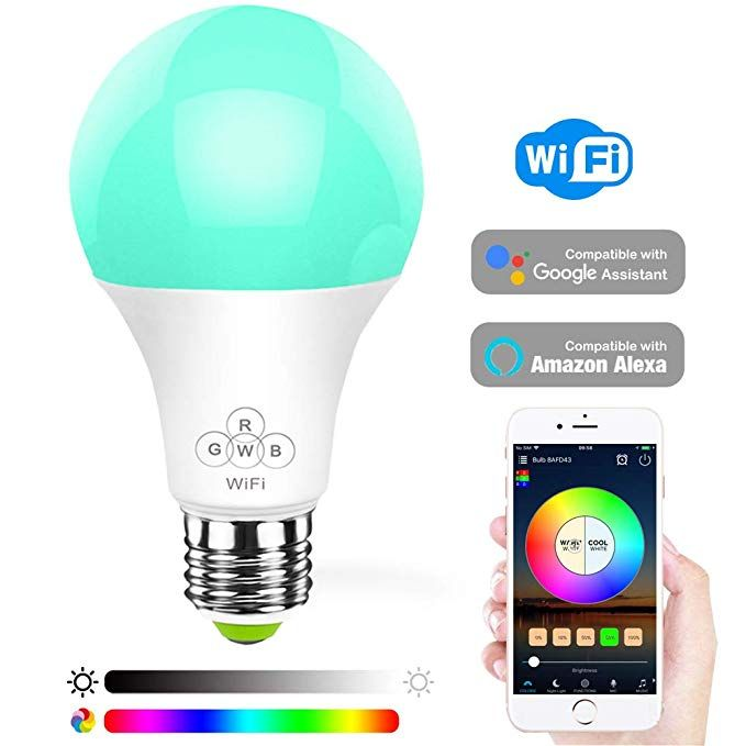 Konxie Led Wifi Smart Lights Bulb Compatible With Alexa And Google Assistant And Ifttt E27 A19 Rgbw Edison Bulb Smart Light Bulbs Smart Lights Smart Lighting