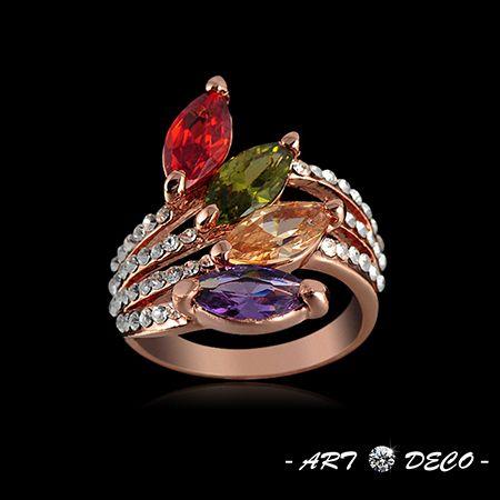 18k rosa chapado en oro de moda forma de la hoja multicolor corte marquesa cz anillos de compromiso con cristales austriacos de joyería de fantasía