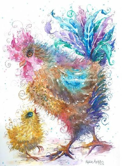 Rooster chicken chick painting by Sophie Appleton £13.95 on the 'Art 4 SALE' page of www.sixfootsophie.co.uk