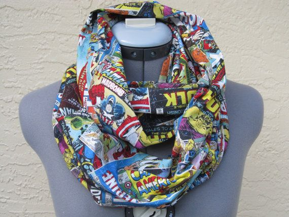 Marvel comic book infinity scarf featuring Spider-man, Hulk, Thor, Ice man, and Wolverine  (Adult Marvel Comic Book Infinity Scarf by AquamarCouture on Etsy)