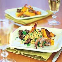 Couscous met geroosterde pompoen en paddestoelen