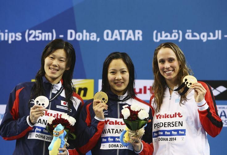 (L-R) Rie Kaneto of Japan, Kanako Watanabe of Japan and Rikke Moller Pedersen of Denmark
