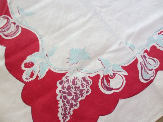 Red grapes. Vtg midcentury tablecloth / cotton / fruit apples grapes pears / botanical / red aqua purple /  46 x 52 inch