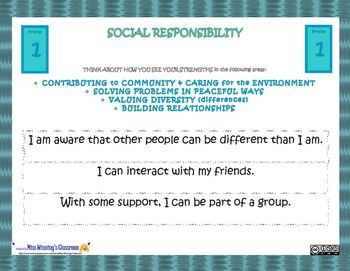 "SOCIAL RESPONSIBILITY CORE COMPETENCIES PROFILES SLIDES are based on Core Competencies in the Redesigned British Columbia Curriculum: Building Student SuccessPLEASE NOTE: These ""Profiles"" are NOT Grade Specific. They represent a whole range of skills from very early levels (Pre-K) through Grade 12 and adulthood."